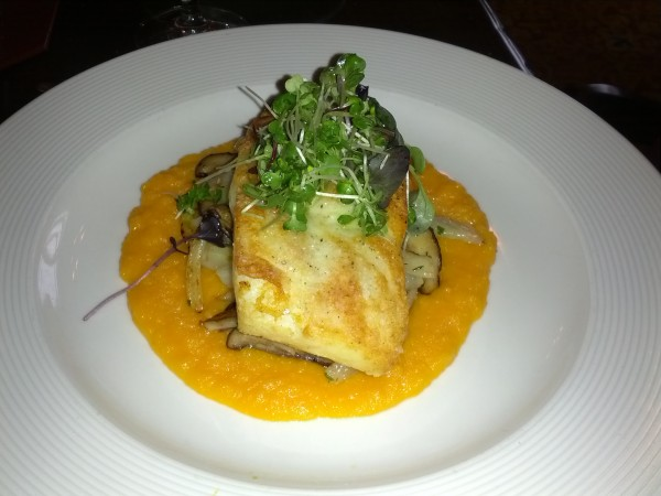 Mom's halibut with butternut squash puree